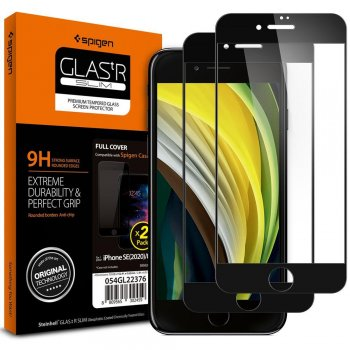 "5D Apple iPhone 8 / 7 / SE (2020) 4.7"" Spigen Tempered Glass Screen Protector, Black"