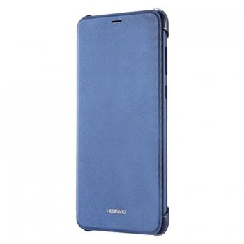 Original Huawei Flip Cover Bookcase Type Case for Huawei P Smart 2017 (FIG-LX1, LA1, LX2, LX3), Blue