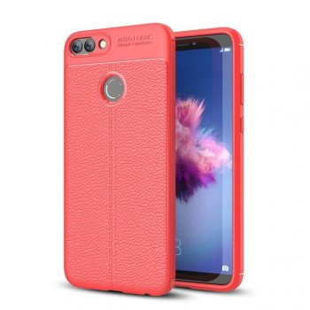 Huawei P Smart 2017 (FIG-LX1, LA1, LX2, LX3) Litchi Flexible TPU Case, Red | Telefona vāciņš maciņš