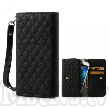 Universal Rhombus pouch purse case wallet for iPhone 3 4 5, Samsung Galaxy mini, HTC, LG, Nokia, Sony, black - vāks, maks, somiņa telefoniem 13x6.5cm
