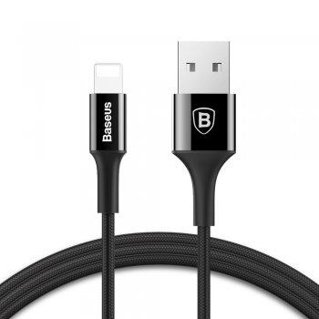 Baseus Shining Cable USB / Lightning Nylon Braid 2A 1m , Black | Lādētājvads