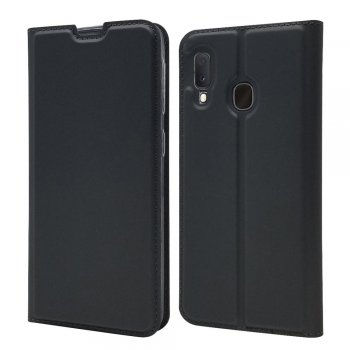 Samsung Galaxy A20e (SM-A202F) mākslīgās ādas maciņš vāciņš apvalks| Magnetic Leather Case Cover Card Holder – Black