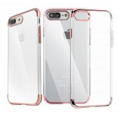 "Apple iPhone 7 8 Plus 5.5"" Baseus Crystal Clear PC Hard Plastic Protective Back Case, transparent red - vāks maks"