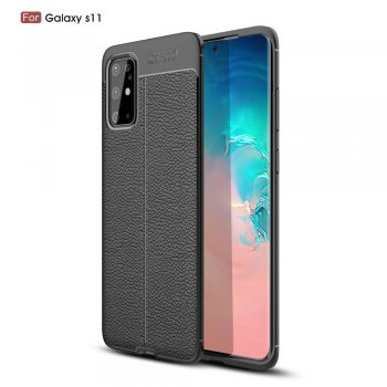 Samsung Galaxy S20+ Plus Litchi Texture Brushed TPU Back Case Cover, Black | Обложка бампер