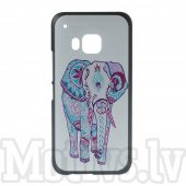 HTC One M9 Hima Embossed Hard PC Plastic Case, tattooed elephant - aksesuārs vāks bamperis
