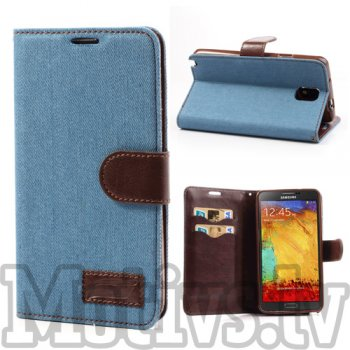 Samsung Galaxy Note 3 III N9000 N9002 N9005 Washed Jeans Wallet Case