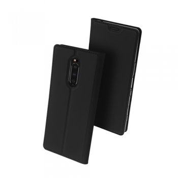 Sony Xperia 1 (J9110) DUX DUCIS Skin Pro Leather Folio Magnetic Case Cover Stand, black – vāks maks
