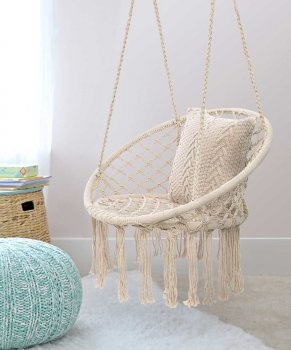 Garden Home Hammock Chair Swing from Braided Rope, Beige