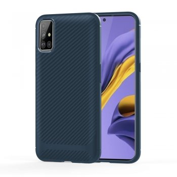 Samsung Galaxy A51 (SM-A515F) Carbon Fiber Anti-drop TPU Case Cover - Dark Blue | Vāks bamperis