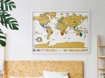Poster with World Travel Map 88x52cm, Gift Scratch, White