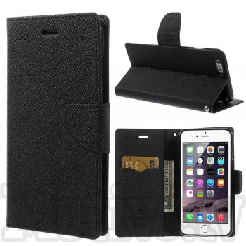 "Apple iPhone 6 6S 4.7"" Mercury Goospery Fancy Diary Case Leather Cover, black"