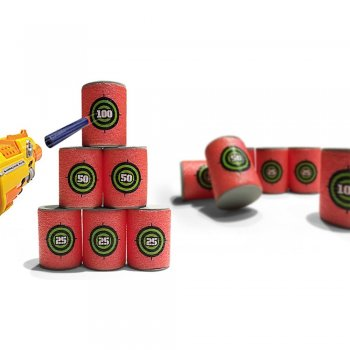 Set of 6 foam can-shaped targets