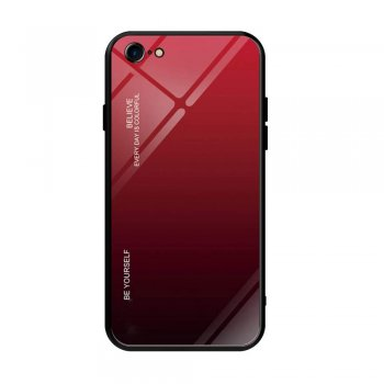 Apple iPhone 8 / 7 / SE (2020) 4'7 Gradient Glass TPU + PC Phone Case - Red / Black