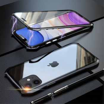 Apple iPhone 11 LUPHIE Magnetic Installation Metal Frame + Tempered Glass Alll-side Protective Shell, Black - обложка бампер