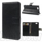 Sony Xperia Z1 Compact Mini D5503 Crazy Horse Wallet Leather Case Cover, black - aksesūars vāks maks