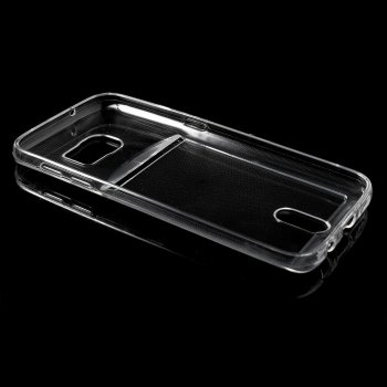 Samsung Galaxy S7 SM-G930F Slim TPU Case with Card Slot, Transparent - puscietā silikona vāks vāciņs