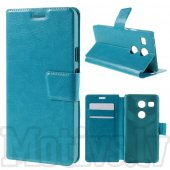 LG Google Nexus 5X H791 Crazy Horse Leather Wallet Stand Case Cover, blue – vāks vāciņš maks maciņš