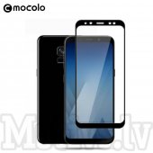 Mocolo Full Coverage Tempered Glass Screen Protector for Samsung Galaxy A8 2018 SM-A530F, 0.3mm 9H black - ekrāna aizsargstikls, protektors