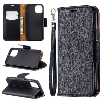 Apple iPhone 11 Pro PU Leather Case Cover with Card Slot, Black | Vāciņš maciņš apvalks, Melns