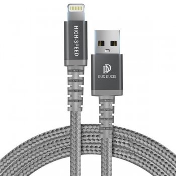 Dux Ducis K-ONE Series USB / Lightning Cable, 2.4A, 1m, Gray | Lādētājvads