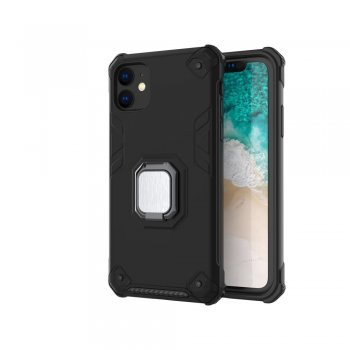 Apple iPhone 11 - Armored PC + TPU Hybrid Case Cover with Finger Ring, black | Oбложка бампер
