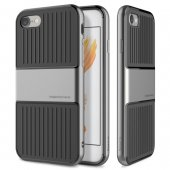 "Apple iPhone 7 8 4.7"" Baseus Suitcase Hybrid TPU & Metal Frame Case Cover, grey - vāks vāciņš"