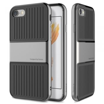 "Apple iPhone 7 8 4.7"" Baseus Suitcase Hybrid TPU & PC Frame Case Cover, grey - vāks vāciņš"