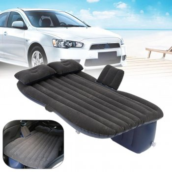 Inflatable Car Air Bed Back Seat Rest Foldable Mattress for Travel Camping, Black