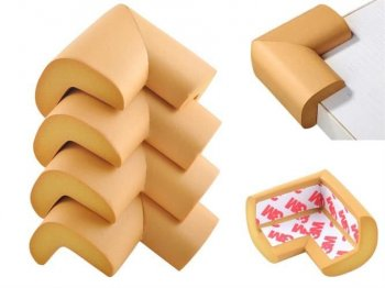 Child Baby Safety L-Shape Table Corner Protector Cushion, Light Brown - 4 pcs