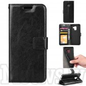 Samsung Galaxy A8 2018 SM-A530F Crazy Horse Leather Wallet Stand Case Cover, black – vāks vāciņš maks maciņš