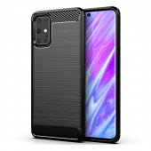 Samsung Galaxy S20+ Plus Carbon Fiber Brushed TPU Gel Case Bumper Cover, black - обложка бампер