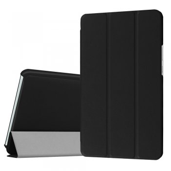 "Huawei MediaPad M3 8.4"" Tri-fold Stand Smart Leather Case Cover, black - vāks apvalks pārvalks"