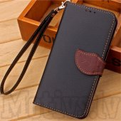 Meizu MX5 Leaf Style Wallet Leather Stand Case, black - vāks maks