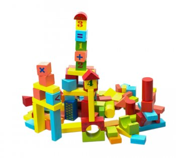 Constructor Wooden Blocks Bricks in Bucket 100 pcs.