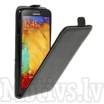 Samsung Galaxy Note 3 III N9000 N9002 N9005 Leather Vertical Flip Cover Case with Pocket, black - aksesuārs vāks maks