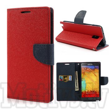 Samsung Galaxy Note 3 III N9000 N9002 N9005 Mercury Goospery Fancy Diary Wallet Stand Case Cover, Red/Navy - vāks vāciņš maks maciņš