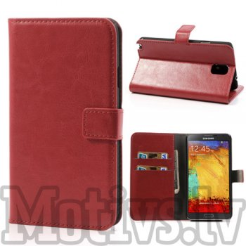 Samsung Galaxy Note 3 III N9000 N9002 N9005 Crazy Horse Wallet Leather Case, red - vāciņš vāks apvalks pārvalks