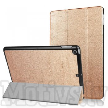 "Apple iPad 9.7"" (2017 2018) Tri-fold Stand Smart Leather Case Cover, gold"