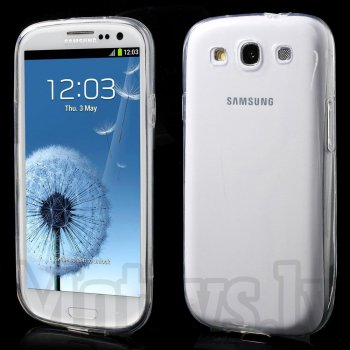 Samsung Galaxy S3 SIII i9300 i9305 Clear Ultrathin TPU Gel Case Cover, transparent - ultra plāns silikona vāciņš