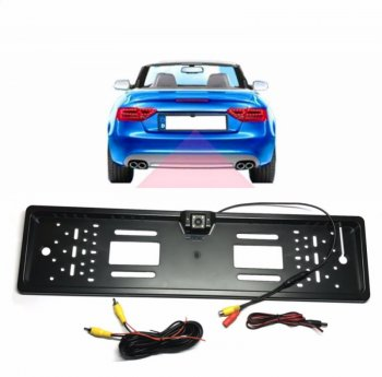 Auto License Plate Frame with Rear View Reverse Backup Camera, Black
