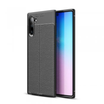 Vaciņš apvalks bamperis priekš Samsung Galaxy Note 10 (SM-N970F) | Litchi Texture TPU Phone Shell Case for Samsung Galaxy Note 10 - Black