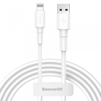 Baseus Mini Apple iPhone iPad Lādētājs vads kabelis 2.4A 1m, Balts | USB to Lightning Charger Cable Braided Wire