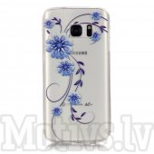 Samsung Galaxy S7 G930 Embossed Clear TPU Protection Cover - Blue Flower, puscietā silikona vāks vāciņs