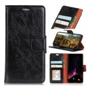 Nokia 5.1 Textured Leather Wallet Phone Case with Stand - Black, melns ādas maciņš