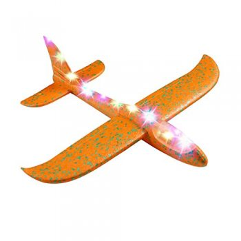 Hand Throwing Foam Airplane Glider with 8 LED Lights 47x48 cm, Orange