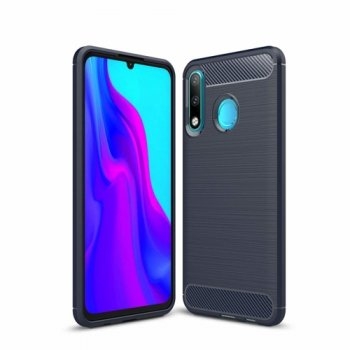 Huawei P30 lite (MAR-LX1M) Carbon Fiber Brushed TPU Gel Case Bumper Cover, blue - vāks bamperis