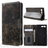 Sony Xperia X Compact F5321 Marble Texture Leather Case Cover Stand, brown – vāks maks