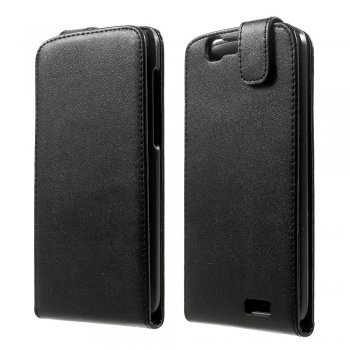 Huawei Ascend G7 Vertical Flip Leather Magnetic Cover Case, black - maks maciņš vāks vāciņš