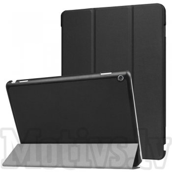 "Huawei MediaPad M3 Lite 10 10.1"" Bach-L09B Tri-fold Stand Smart Leather Case Cover, black - vāks apvalks pārvalks"