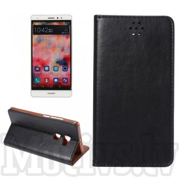 "Huawei Ascend Mate S 5.5"" Crazy Horse Genuine Leather Wallet Case Cover Stand, black – vāks vāciņš maks maciņš"